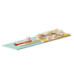 low poly lng terminal and lng carrier ship vector image