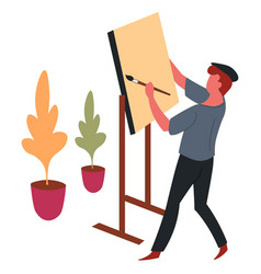 Man painter and easel with paintbrush painting vector