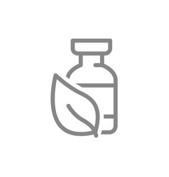 Medical ampoule and plant leaf line icon vaccine vector