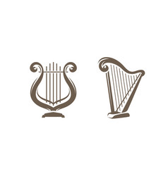 musical harp lyre symbol or logo classical music vector image