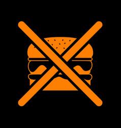 no burger sign orange icon on black background vector image