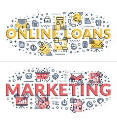 Online Loans and Marketing headings titles vector