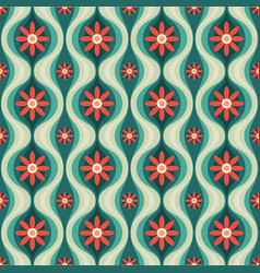 Orange flowers and green leaves mid-century vector