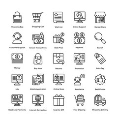 Pack shopping line icons vector