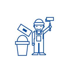 painterbuilder line icon concept painterbuilder vector image