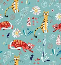 Pattern of plant and cats vector