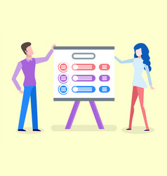 people standing near presentation board vector image
