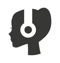 person profile earphone icon vector image