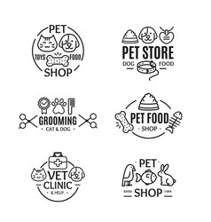Pet shop badges or labels line art set vector