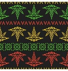 Pixel art game style rasta weed leaf seamless vector