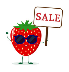 pretty strawberry character in sunglasses keeps vector image