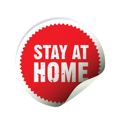 Red sticker and text stay at home vector