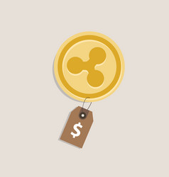 ripple coin price value of crypto-urrency in vector image