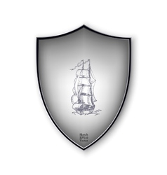Sailing ship on the shield format vector