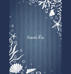 sealife and water bubble frame on blue wood board vector image