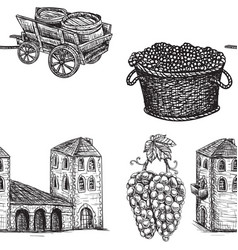 Seamless background agriculture viticulture vector