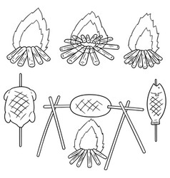 set of bonfire and grilled food vector image