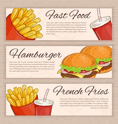 set of hand drawn fast food banners with french vector image