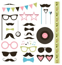 Set of retro disco party elements mustaches vector