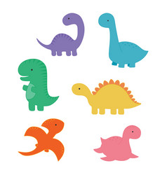 set with cartoon dinosaurs vector image