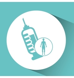 Silhouette man health icon syringe vector