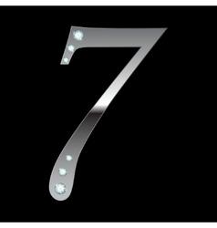 silver metallic number seven vector image