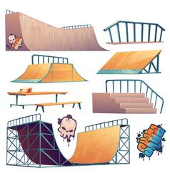 Skate park or rollerdrome equipment for skateboard vector