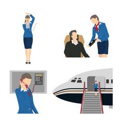 Stewardess serves passengers on the airplane vector
