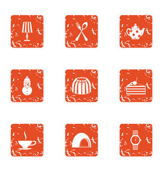 street feast icons set grunge style vector image