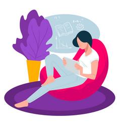 Student reading books preparing for exam vector