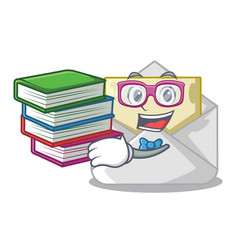 Student with book envelope opened on shape white vector