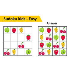 Sudoku kids game with answers cute fruit vector