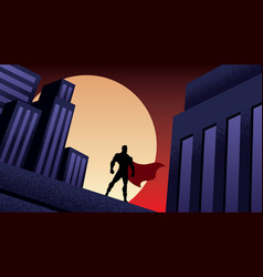 Superhero city night vector