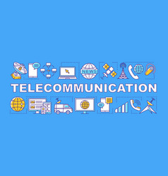 Telecommunication word concepts banner global vector
