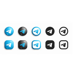 telegram modern 3d and flat icons set vector image