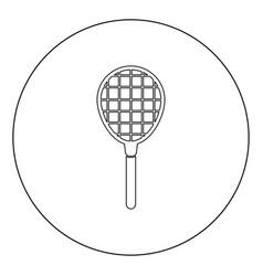 Tennis racquet icon black color in circle vector