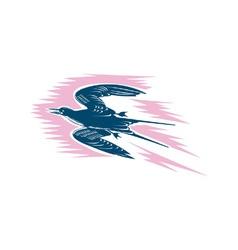 Tern Flying Woodcut vector