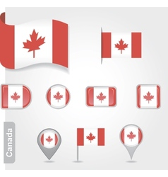 The Canadian flag - set of icons and flags vector