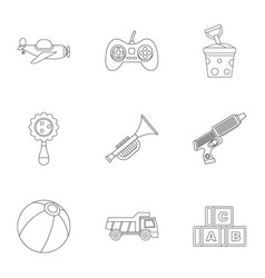 toy icon set outline style vector image
