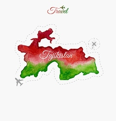 Travel around the world Tajikistan Watercolor map vector image