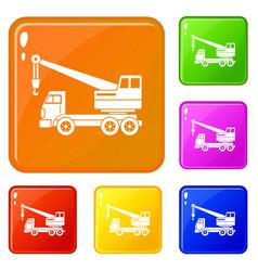 Truck crane icons set color vector