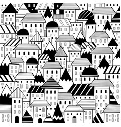 various hand drawn doodle cartoon houses style vector image
