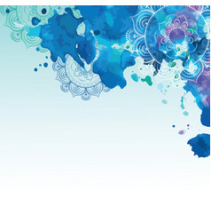 Watercolor background in blue colors vector