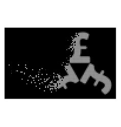 White dissolved dotted halftone pound trinity icon vector