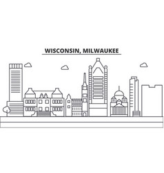 Wisconsin milwaukee city architecture line vector