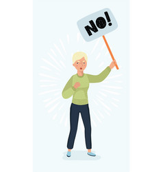 Woman holding picket sign vector