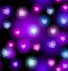 Abstract seamless pattern with neon hearts on vector image vector image