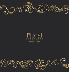 Beautiful golden floral border on black background vector