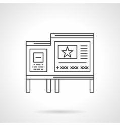 Bulletin board flat line icon vector image
