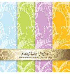 Floral scrapbook pattern vector image